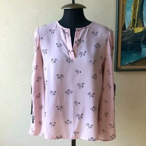 Ivanka Trump Pink Bow sleeve floral top size S